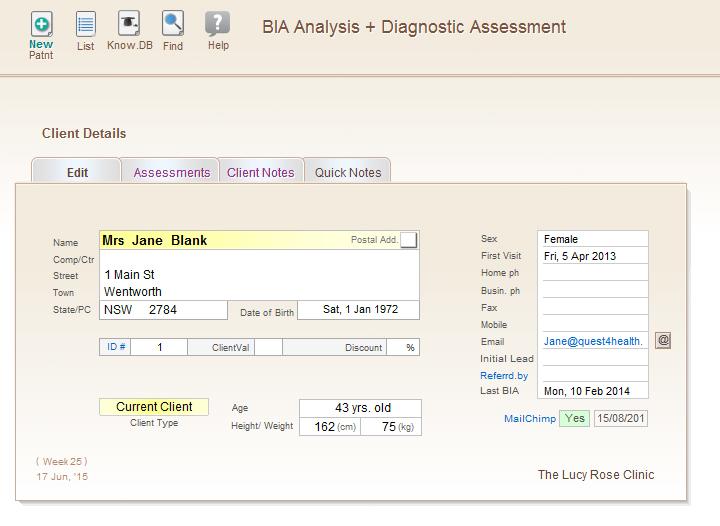 HealthQuest Bio-Impedance Analysis