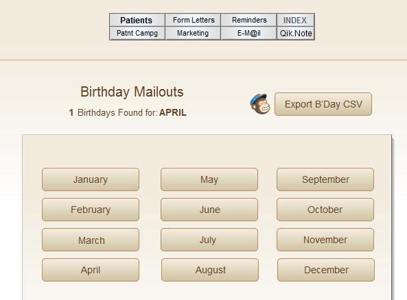 MailChimp database export